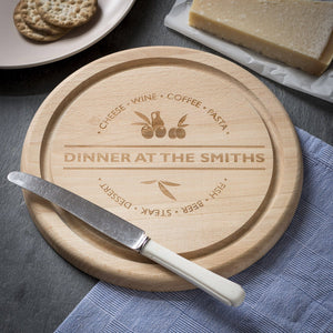 Cheese Board - Engraved Round Beech Cheese Board Or Chopping Board - Dinner At Surname Design