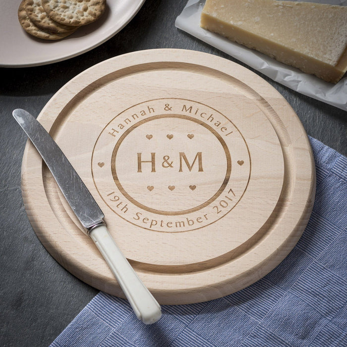Engraved Round Beech Cheese Board or Chopping Board - Initials & Hearts Design