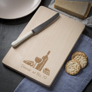 Cheese Board - Engraved Beech Cheese Board Or Chopping Board - Dinner At No. Design