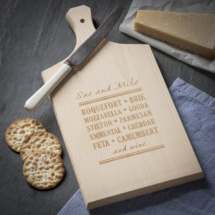 Engraved Paddle Beech Cheese Board or Chopping Board - Cheese Selection Design