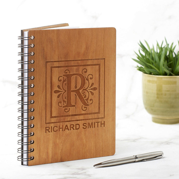 Personalised A5 White Monogram Note Book, Journal or Planner