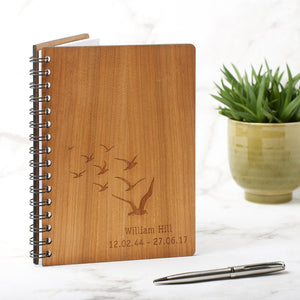 Notebook Planner - Personalised A5 Anniversary Memory, Book Of Condolence, Retirement Gift - Birds Design