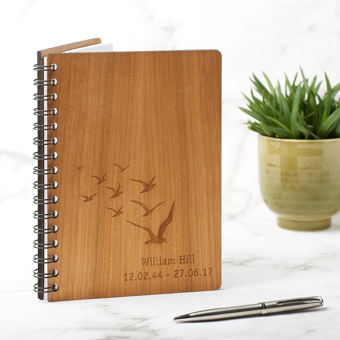 Personalised A5 Anniversary Memory, Book of Condolence, Retirement Gift - Birds Design