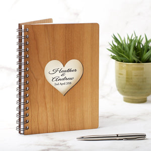 Notebook Planner - Personalised A5 Wedding Planner, Guest Book, Journal Or Notebook - Heart With Names Design