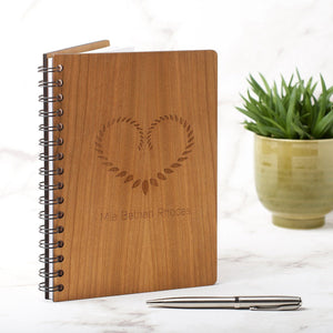 Notebook Planner - Personalised A5 Note Book, Journal Or Planner - Leaf Heart Design