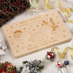 Chopping Board - Personalised  Wooden Christmas/Xmas Eve Santa Treat Plate Platter Board Mat | Solid Beechwood -Circles