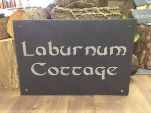 House Sign - Personalised Hand Cut Natural Rustic Slate House Sign With Fixture Holes