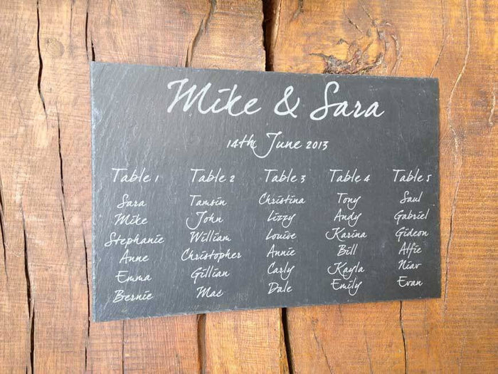 Personalised Hand Cut Natural Rustic Small Slate Wedding Table Plan