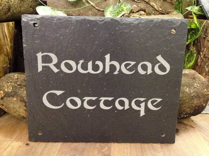 Personalised Hand Cut Natural Rustic Slate House Sign with Fixture Holes