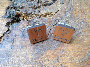 Cufflink - Personalised Wooden 'Names' Cufflinks With Silver Plated Back