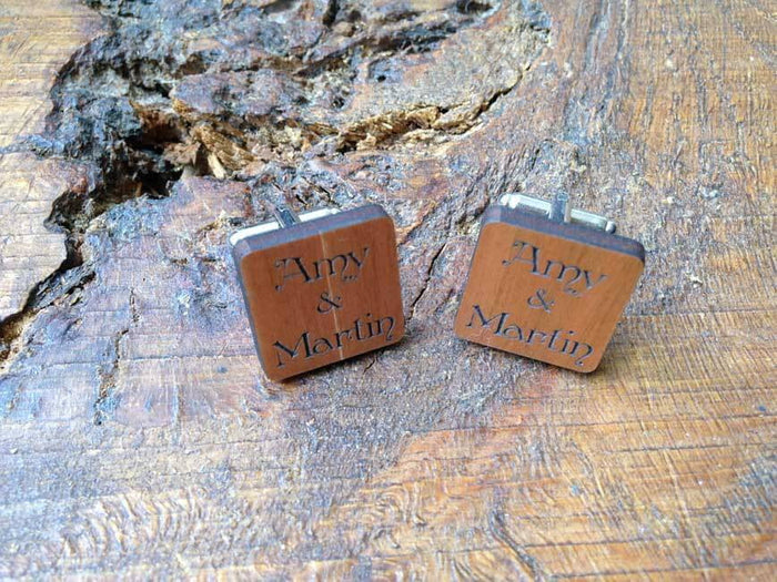 Personalised Wooden 'Names' Cufflinks with Silver Plated Back