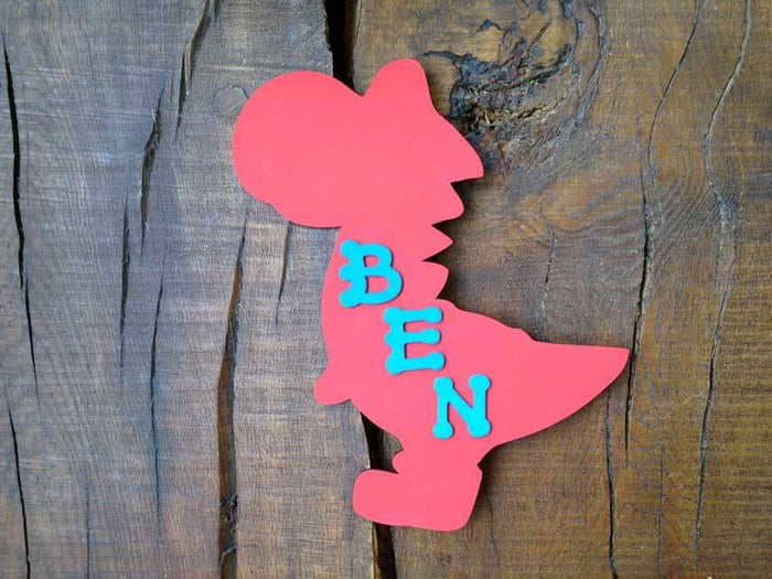 Personalised Colourful Wooden Dinosaur Plaque