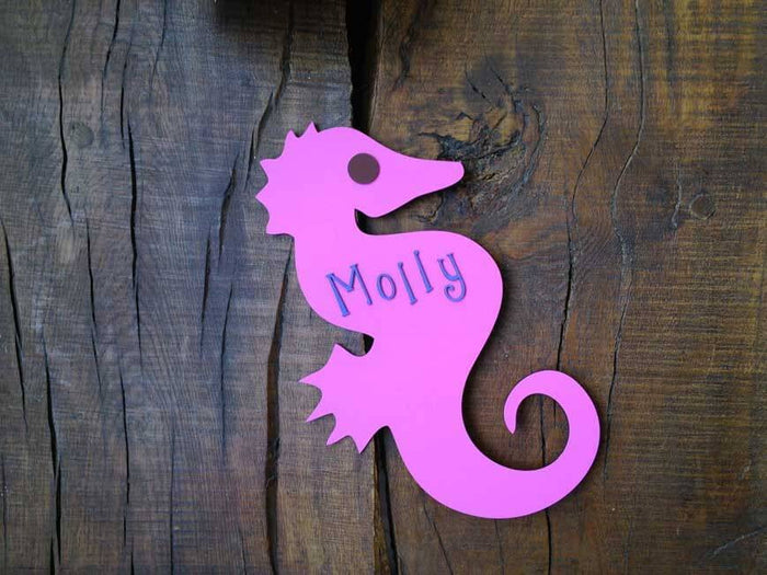 Personalised Colourful Wooden Seahorse Plaque
