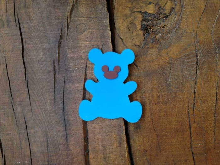 Personalised Colourful Wooden Teddy Bear Plaque