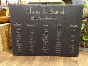 Table Plan - Personalised Hand Cut Natural Rustic Large Slate Wedding Table Plan 040