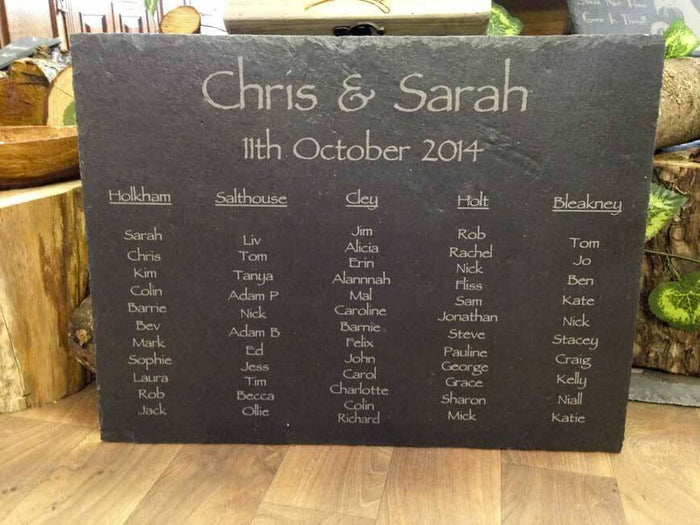 Personalised Hand Cut Natural Rustic Large Slate Wedding Table Plan 040