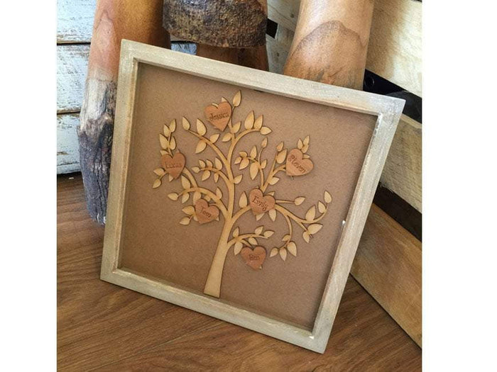 Medium Family Tree in Wooden Box Frame 024