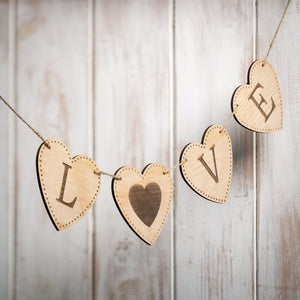 Handmade Personalised Wooden Bunting Hearts