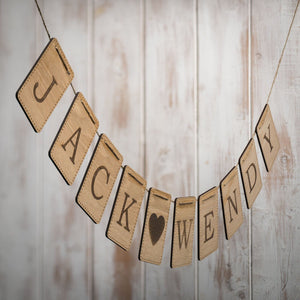 Handmade Personalised Wooden Bunting Rectangular