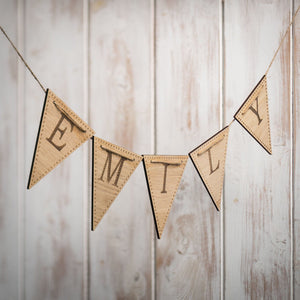 Handmade Personalised Wooden Bunting Triangular
