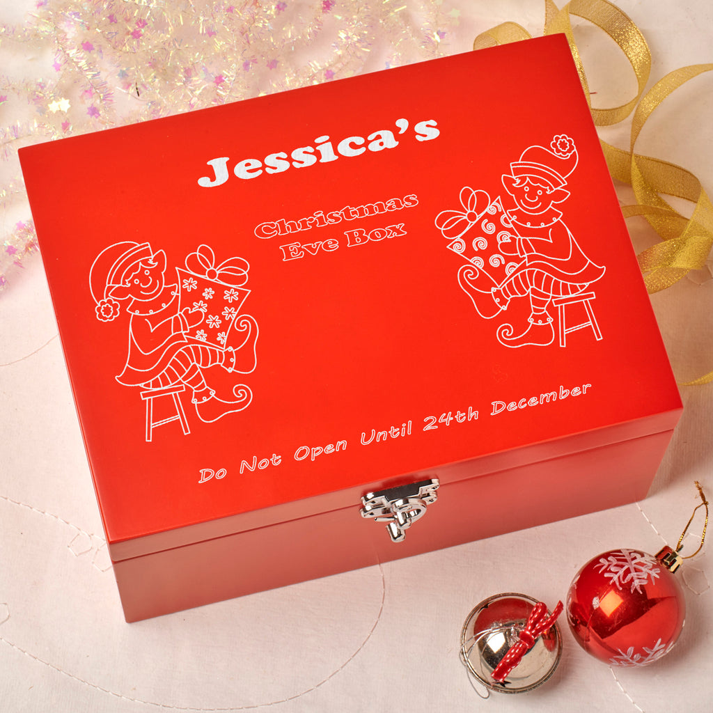 Laser Engraved Personalised Wooden Christmas Eve Red Box - Elves Design