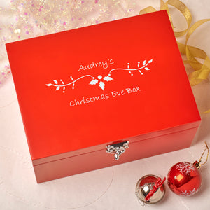Laser Engraved Personalised Wooden Christmas Eve Red Box - Holly Design