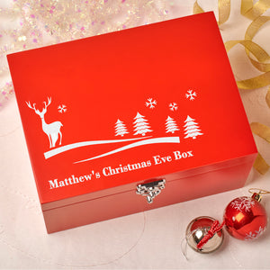 Laser Engraved Personalised Wooden Christmas Eve Red Box - Reindeer Design
