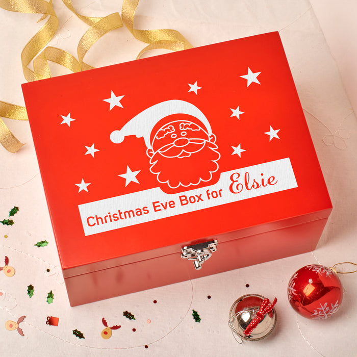 Laser Engraved Personalised Wooden Christmas Eve Red Box - Santa Stars Design
