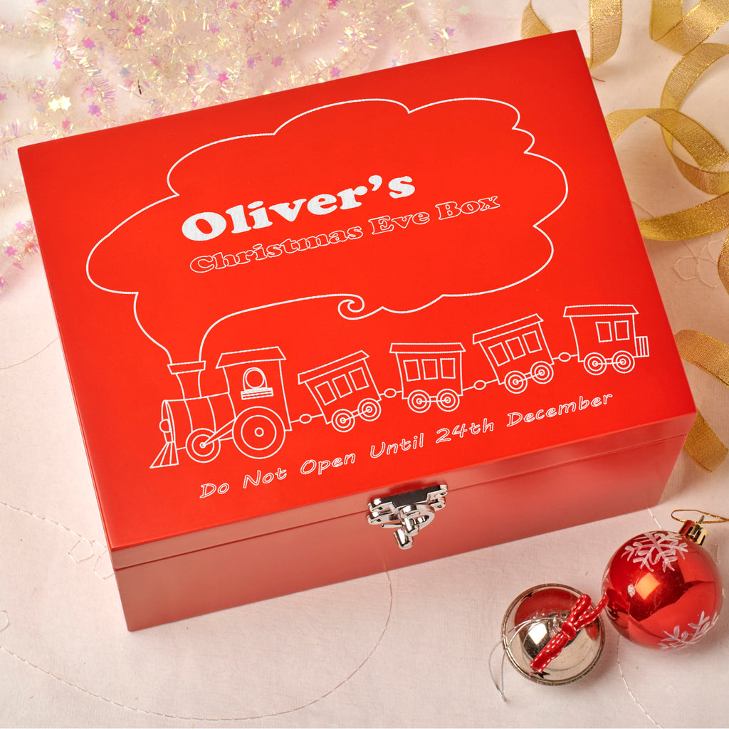 Laser Engraved Personalised Wooden Christmas Eve Red Box - Train Design
