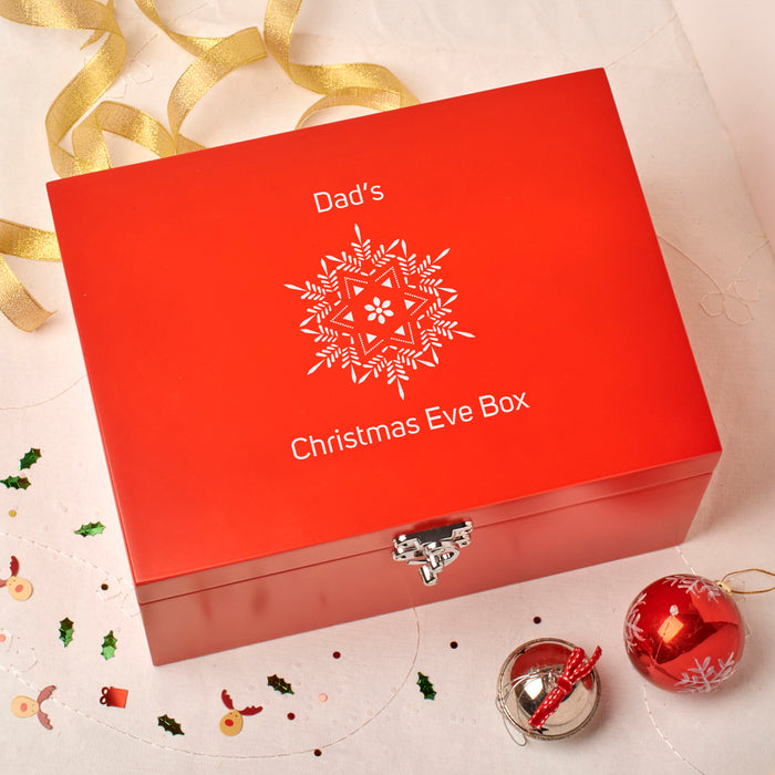 Laser Engraved Personalised Wooden Christmas Eve Red Box - Snowflake Design