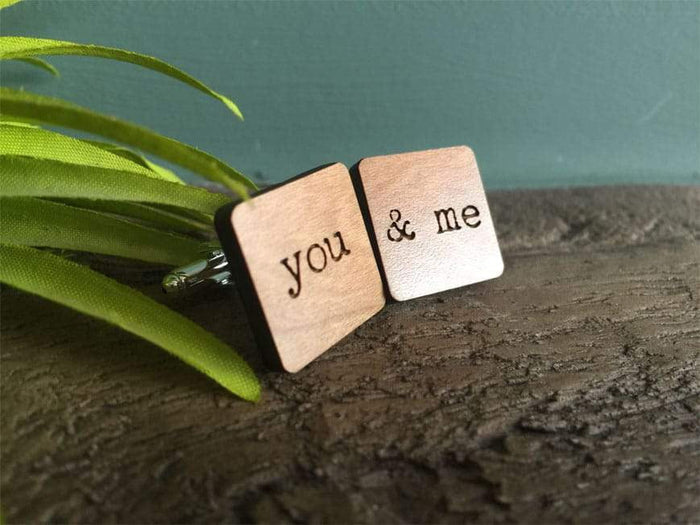 Wooden 'You and Me' Cufflinks with Silver Plated Back