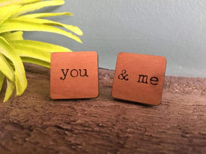 Cufflink - Wooden 'You And Me' Cufflinks With Silver Plated Back