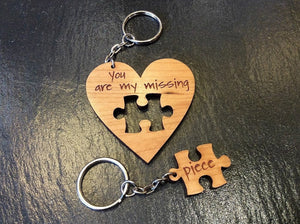 Missing Piece Wooden Keyring
