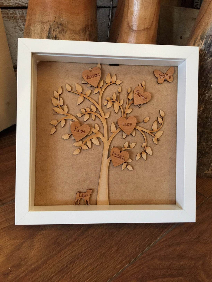 Small Family Tree in White Box Frame 116