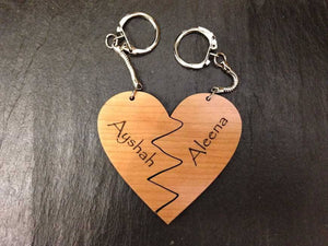Key Ring - Personalised Heart Shaped Lovers Wooden Keyring 052