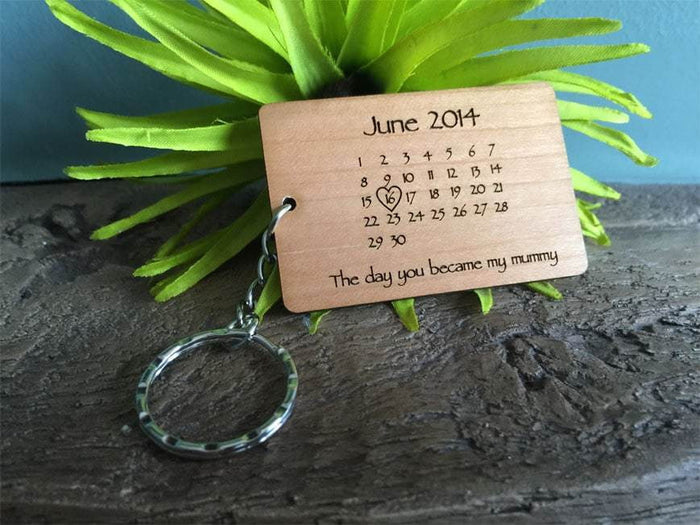 Personalised New Baby Calendar Keyring