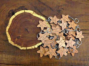 Key Ring - Personalised Star Shaped Wooden Keyring 073