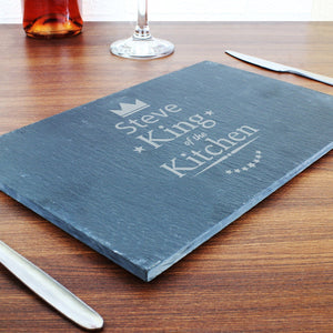 Cheeseboard - Personalised King Of The Kitchen Slate Cheeseboard
