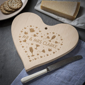 Chopping Board - Personalised Engraved Heart Chopping Board Or Cheese Board - Hearts Design 039