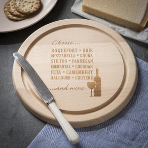 Chopping Board - Round Chopping Board / Cheese Board - Wine & Cheese Design