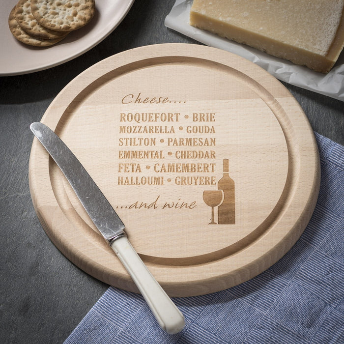 Round Chopping Board / Cheese Board - Wine & Cheese Design