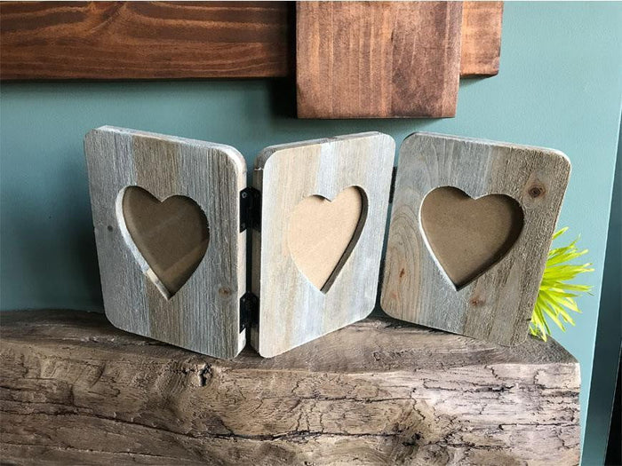 Personalised Rustic Wooden Triple Hinged Folding Frame with Heart Inset