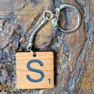 Key Ring - Personalised Scrabble Piece Shaped Wooden Keyring 072