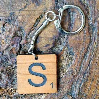 Personalised Scrabble Piece Shaped Wooden Keyring 072