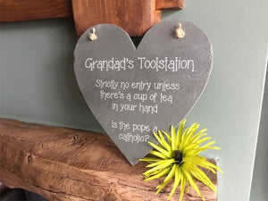 Slate Plaque - Natural Rustic Slate Heart Shaped Plaque With Twine Detail