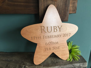 Wood Plaque - Personalised Wooden Star Plaque 109