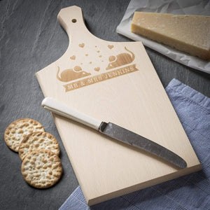 Chopping Board - Wooden Engraved Paddle Beech Chopping Board / Cheese Board - Mice Design