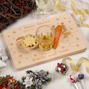 Chopping Board - Laser Engraved Personalised Wooden Santa Platter Board (Square)