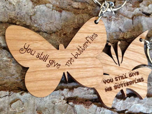 Key Ring - Personalised Wooden Butterfly Love Keyring 078