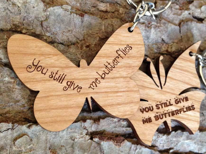Personalised Wooden Butterfly Love Keyring 078